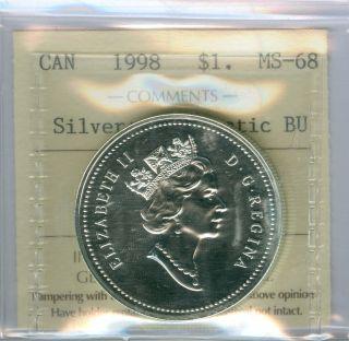 1998 Canada Rcmp Silver Dollar Solo Finest Graded Bu State Unique. photo