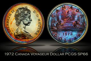1972 Canada Voyageur Silver Dollar Pcgs Sp66 Colorful Toning $1 photo