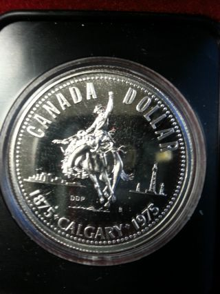 Canada 1975 Silver Proof Dollar Coin Calgary Stampede Uncirculated photo