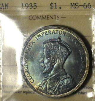 1935 Dollar ($1) Iccs Ms - 66 Pq+ Rainbow Toning Wow photo