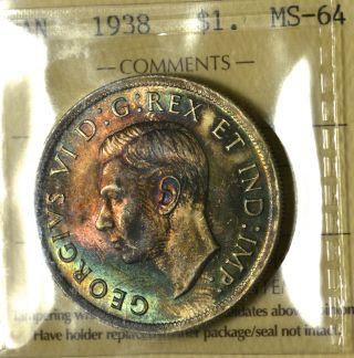 1938 Dollar ($1) Iccs Ms - 64 Pq+ Rainbow & Multi Color Toning Wow photo