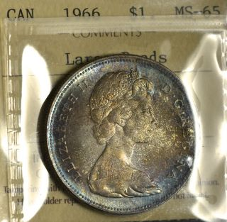 1966 Lb Dollar ($1) Iccs Ms - 65 Pq+ Blue & Amber Toning Wow photo