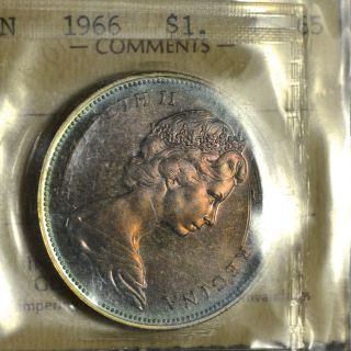 1966 Lb Dollar ($1) Iccs Ms - 65 Pq+ Rainbow Toning Wow photo