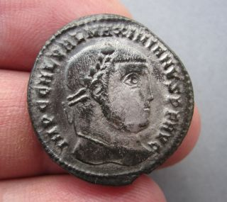 Maximianus Ancient Authentic Silvered Follis photo
