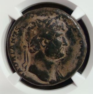Roman Empire: Hadrian,  117 - 138 Ad. ,  Ae Sestertius,  Reverse Virtus,  Ngc F photo