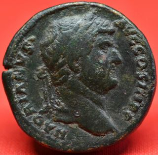 Hadrian,  Scarce Sestertius: Justitia.  Lovely Black Patina.  Ad 131.  27.  0 G photo