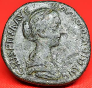 Crispina,  Scarce Sestertius: Salus Seated.  Coin,  Ad 178 - 80. photo