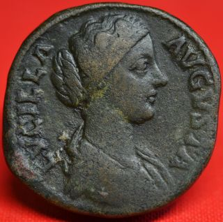 Lucilla,  Scarce Sestertius: Pietas.  Portrait Ad 164 - 6.  Vf. photo