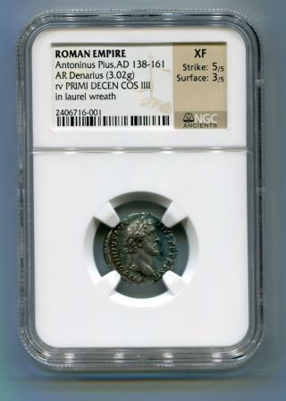 Ngc Ancients Graded Xf Antonius Pius Ad 138 - 61 Ar Silver Denarius - Rare Reverse photo