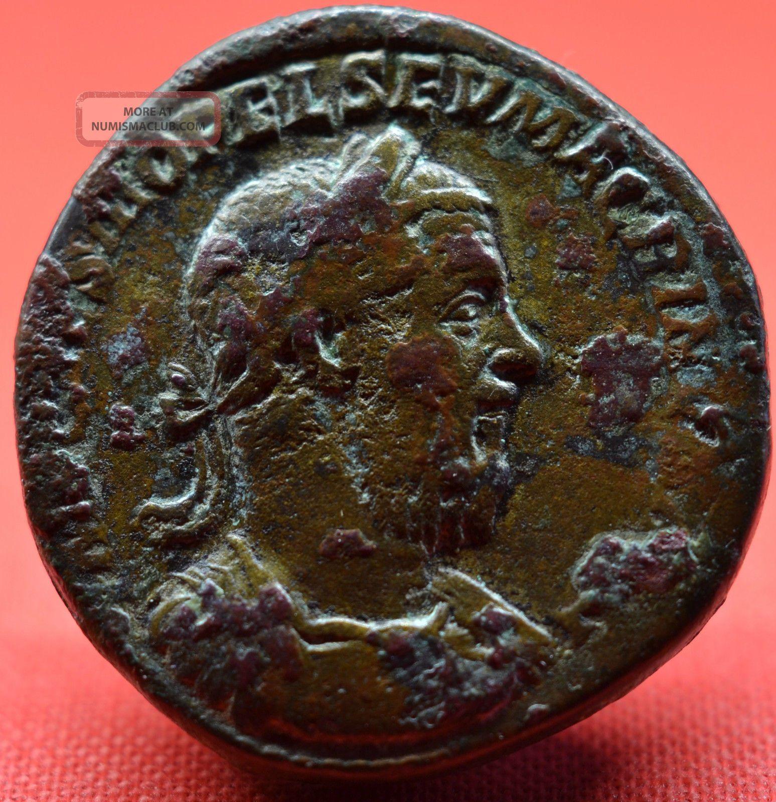 Macrinus,  Very Rare Sestertius,  Fides Militvm.  Portrait Ad 217.  Rare Coins: Ancient photo