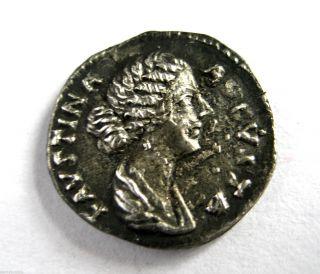 145 A.  D British Found Faustina Ii Roman Period Imperial Silver Denarius Coin.  Vf photo