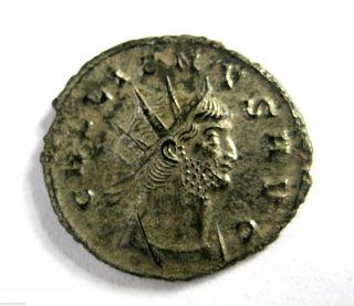 253 A.  D Gallic Empire Emperor Gallienus Roman Period Silvered Ae Antoninus Coin photo