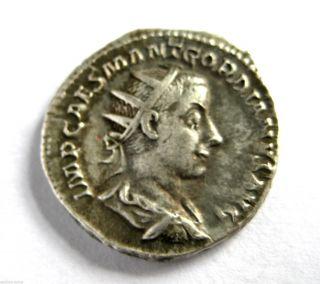 238 A.  D British Found Emperor Gordian Iii Roman Period Silver Antoninus Coin.  Vf photo
