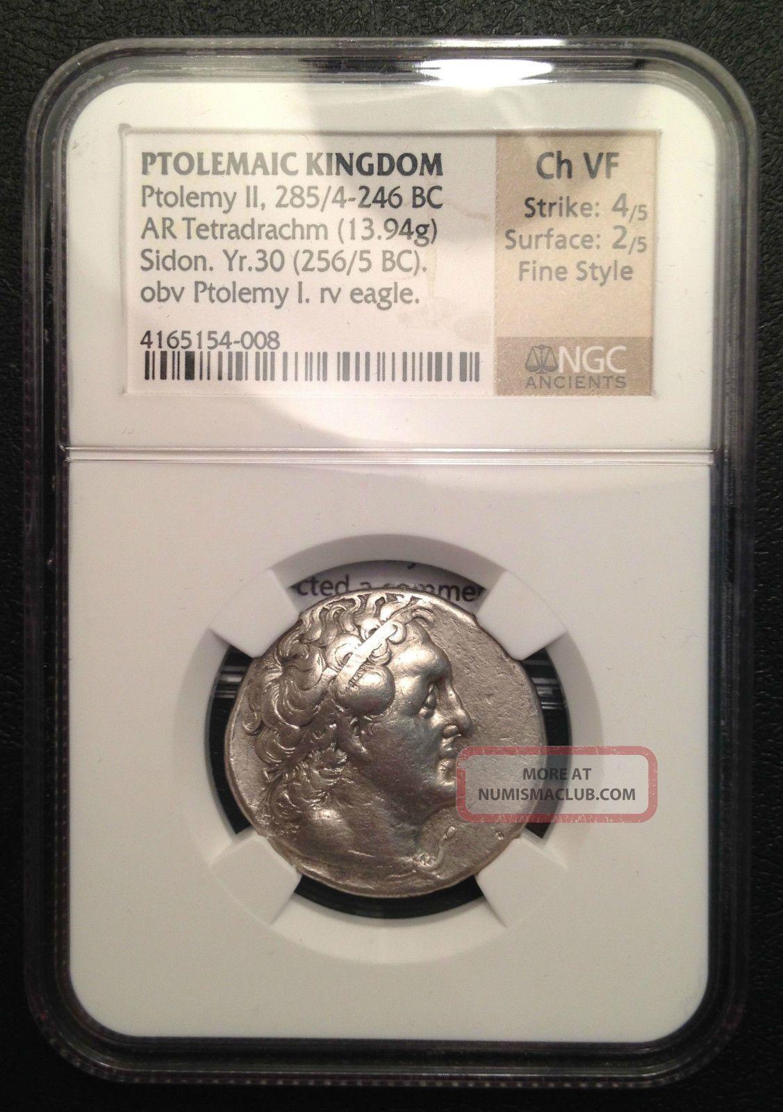 Greece,  Ptolemy Ii,  Tetradrachm,  285bc,  Ngc Choice Vf Coins: Ancient photo