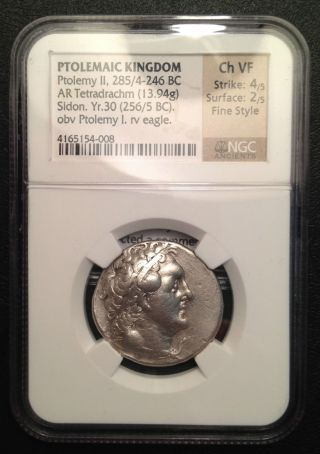 Greece,  Ptolemy Ii,  Tetradrachm,  285bc,  Ngc Choice Vf photo