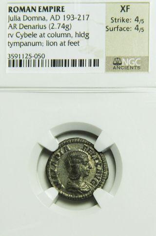 Julia Domna 193 - 217 Ad Ar Silver Denarius Cybele Lion Roman Empire Ngc Xf photo