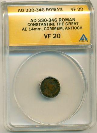 Roman Empire Constantine The Great (330 - 346 Ad) Ae 14mm Commemorative Vf20 Anacs photo
