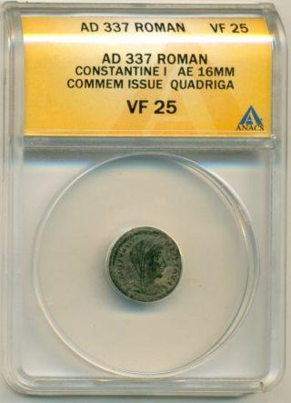 Roman Empire Constantine I (337 Ad) Ae 16mm Commemorative Vf25 Anacs photo