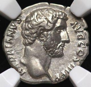 117 - 138 A.  D.  Hadrian Ar Denarius Roman Empire Ngc Xf 4/5,  5/5 photo