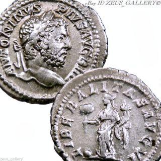 Caracalla Ancient Roman Silver Coin Denarius Liberalitas Rome Struck 210 Ad photo