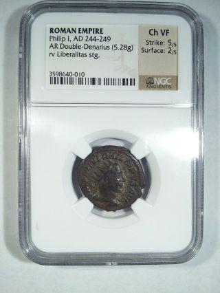 Roman Phillip I,  Ad 244 - 249 Ar Double Denarius (5.  28g) Ch Vf Ngc.  5/5 Strike photo