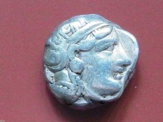 Greece - Athens (attica).  300 - 262 B.  C.  Tetradrachm.  Head Of Athena,  Rev - Owl. .  Vf photo