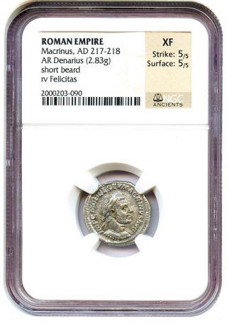 Ad 217 - 218 Macrinus Silver Denarius Ngc Xf (ancient Roman) photo