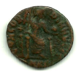 Authentic Roman Imperial Coin Emperor Gratian - Holds Globe And Scepter 367 Ad photo