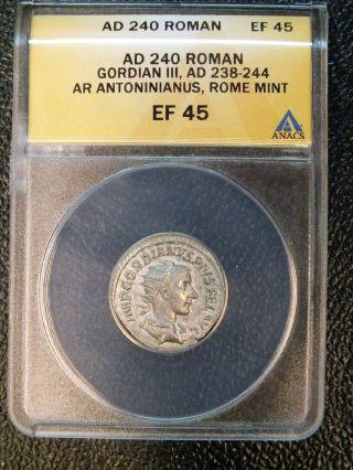 Ad 240 Gordian Iii Ar Antoninianus Anacs Ef45 & photo