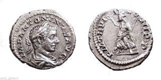 Elagabalus Silver Denarius Ancient Roman Coin Pax Scarce 219 Ad Xf photo