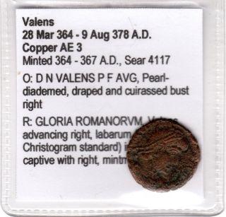 Roman Provencial Coin,  Valens - In Description Card Minted 364 - 357ad Copper Ae 3 photo