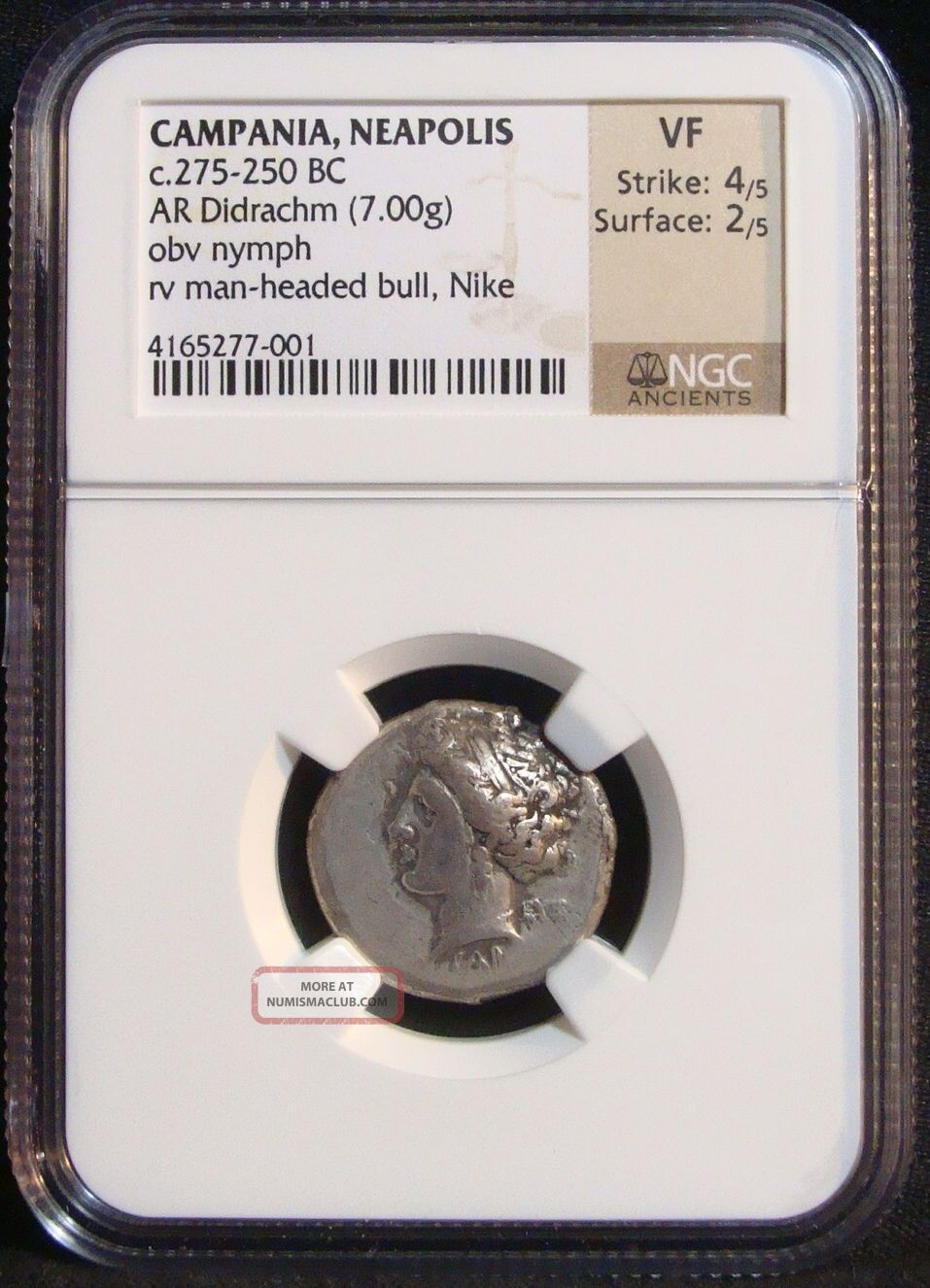 Ancient Greek: Campania Neapolis Ar Didrachm - Nomos,  3rd Century Bc.  Ngc Vf Coins: Ancient photo