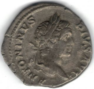 Tmm 198 - 217 Ad Imperial Roman Denarius Caracalla Vf Approx 18 Mm photo