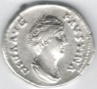 Tmm 141 Ad Imperial Roman Denarius Faustina Sr Vf/ef Approx 18 Mm photo