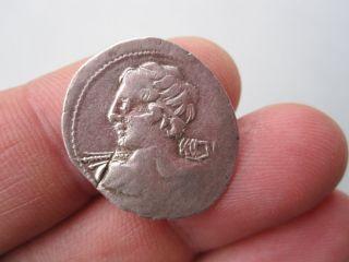 Ancient Authentic C Licinius Lf Macer Silver Denarius Minerva In Quadriga photo