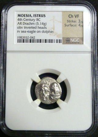 Ancient Greek: Moesia,  Istrus,  Silver Ar Drachm C.  4th Century Bc.  Ngc Choice Vf photo
