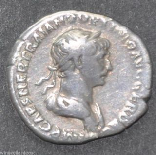Ancient Roman Silver Denarius Coin Of Emperor Trajan Ad 98 - 117 photo