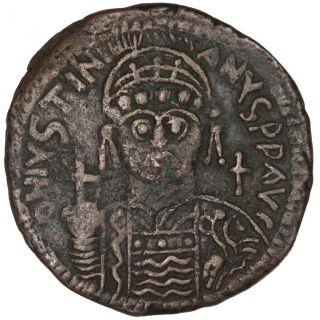 Bysantine Empire,  Justinien Ist,  Follis photo