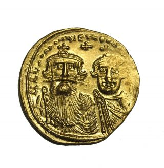 Heraclius 610 - 641 Ad Av Gold Solidus Ancient Byzantine Empire Coin Constantine photo