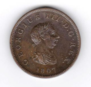 Gb George Iii Half Penny 1807 Ef photo