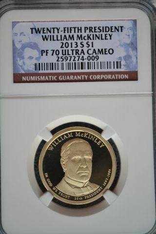 2013 - S William Mckinley Presidential Golden Dollar Ngc Pf70 Ultra Cameo photo