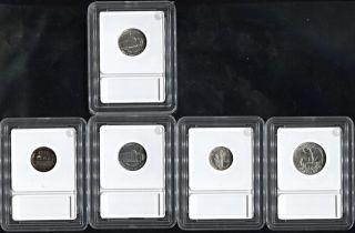 1942 U.  S.  Proof ' S Penny,  Nickel,  Dime And Quarter.  In Slab Cases photo