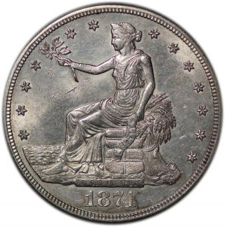 1874 - S Silver $1 Trade Dollar Unc+ Tone Better Example photo