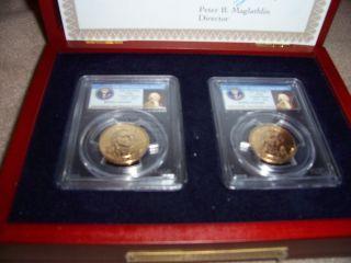 2007 - P John Adams $1 Presidential Coin Ms64 Double Edge Lettering Error/2incase photo