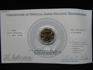 Uncirculated 2007 Presidential Jefferson $1.  00 Coin photo