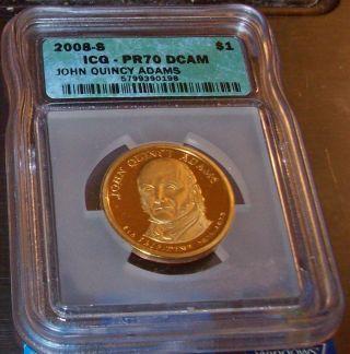 Icg Pr70 2008 - S $1 John Quincy Adams Dc (proof) Presidential Dollar photo
