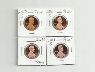 2010 S,  2011 S,  2012 S & 2013 S Lincoln Union Shield Proof Cents/pennies photo