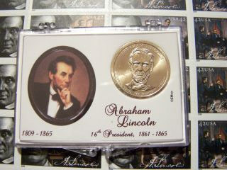 Lincoln Presidential Dollar With Lincoln Stamp In Snap Loc Case photo