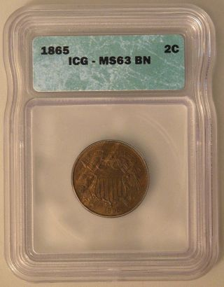 1865 Two Cent Piece - Icg Ms 63 Bn photo