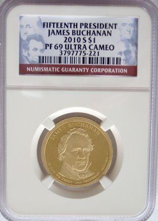 Ngc 2010 S Proof James Buchanan 15th Presidential Dollar Pr Pf69 Usa Guide$17.  50 photo